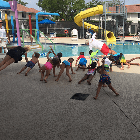 City of Naples River Park Aquatic Center Kids Stretching FLDPF Florida Drowning Prevention Foundation